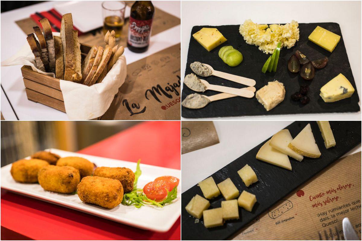 Pan artesano, tabla de quesos premiados en los 'World Cheese Awards', croquetas de queso variadas y mini tabla.
