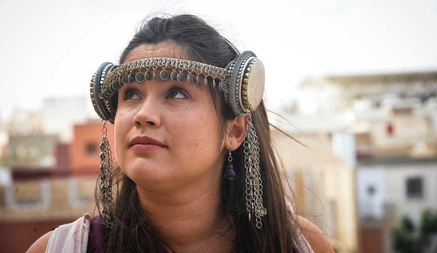 Carthagineses y romanos: Sara Reñasco caracterizada como la princesa Himilce