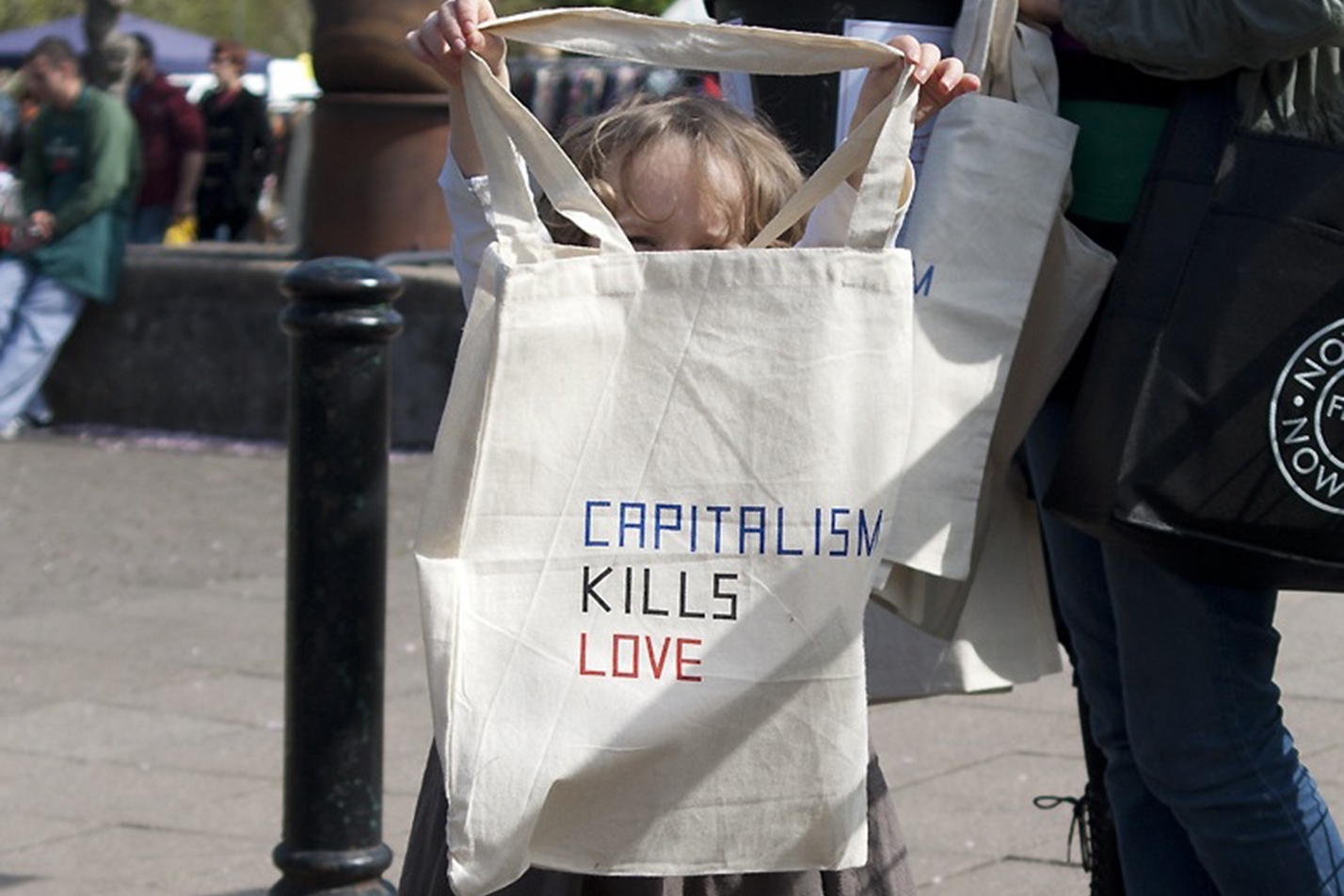 Claire Fontaine, 'Capitalism Kills Love (Bag)',2012. Notes from Nowhere, Foreground, Frome, Somerset UK 6 May – 3 June 2012.Courtesy the artist and Foreground, Frome UK.