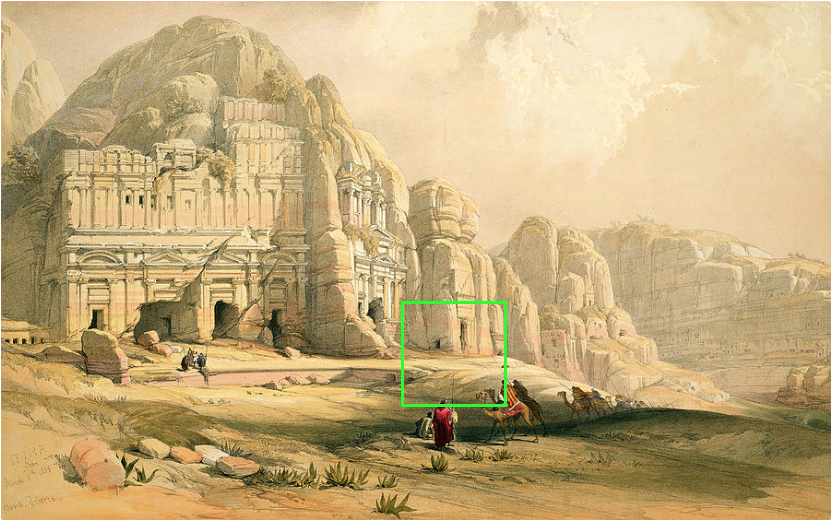 Sulaïman Majali, After David Roberts, Petra shewing the upper or east end of the valley, Jordan, March 8th 1839, plate 96 from Volume III of 'The Holy Land' (Screen Shot 2019-1210 at 13.26.52)
