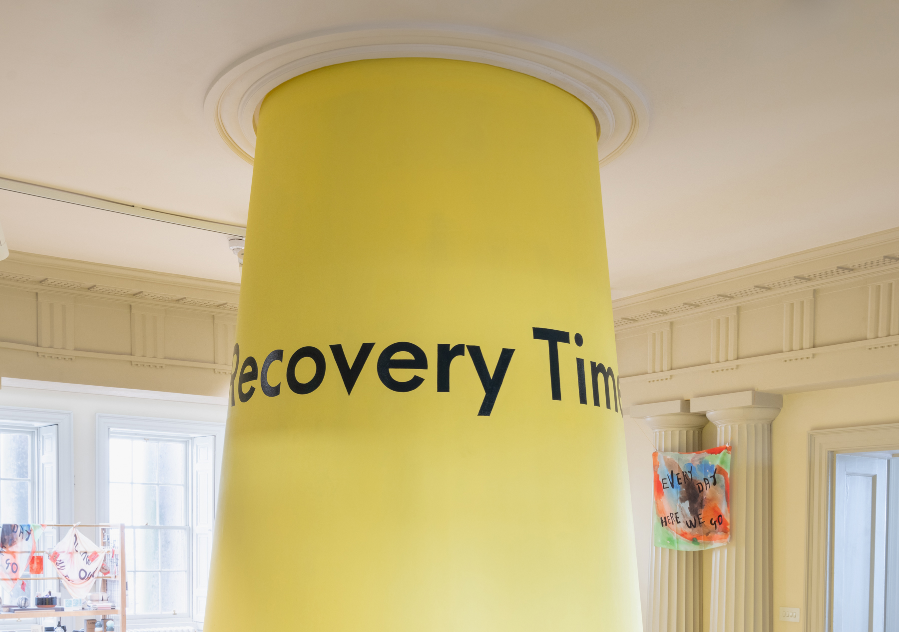 Simon Yuill, 'Recovery Time is Labour Time', painted pilar, 2021.