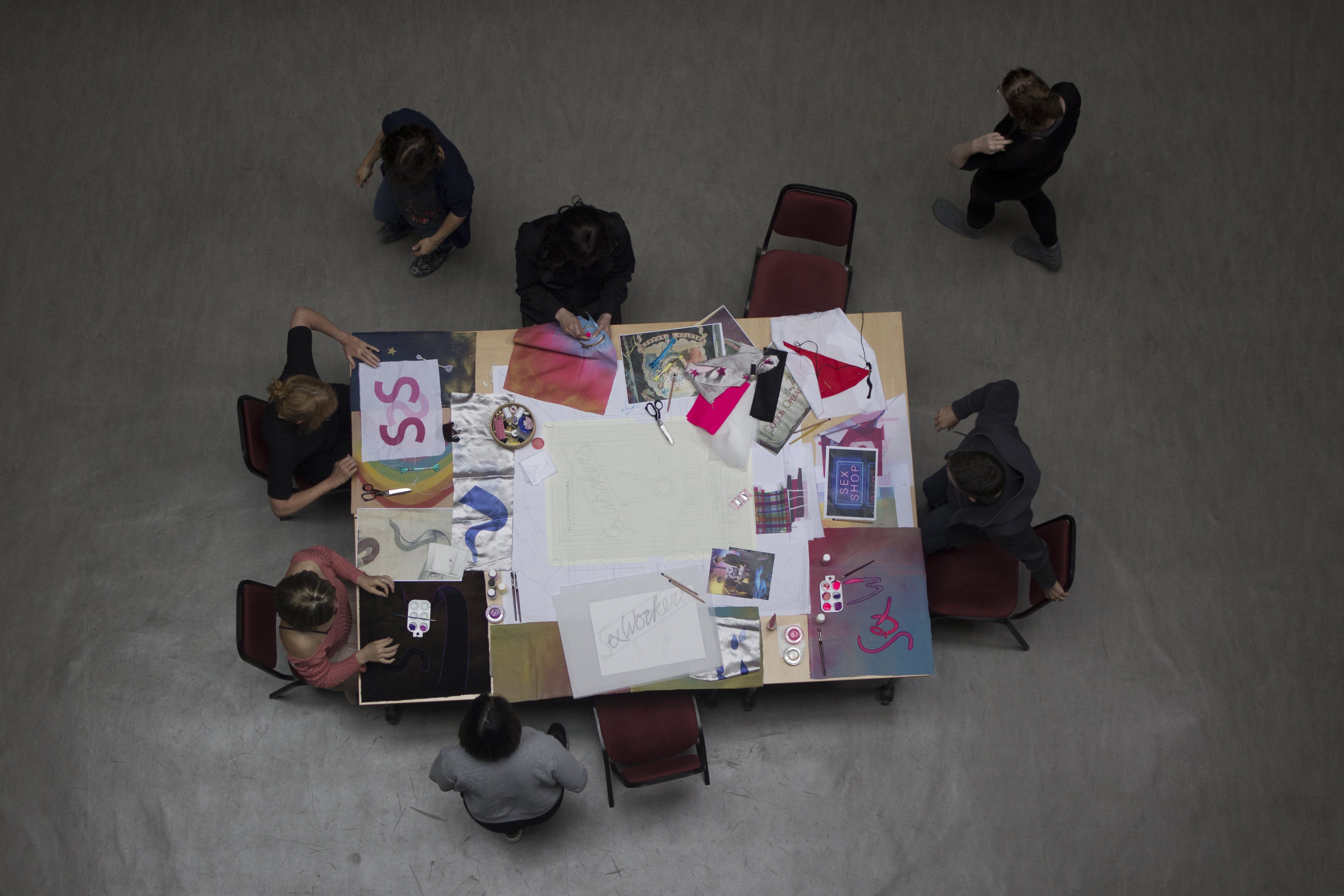 Petra Bauer and SCOT-PEP, *Nothing about us without us*, banner making workshop, August 2017. Image courtesy of the artist, Scot-Pep, Collective and HER.