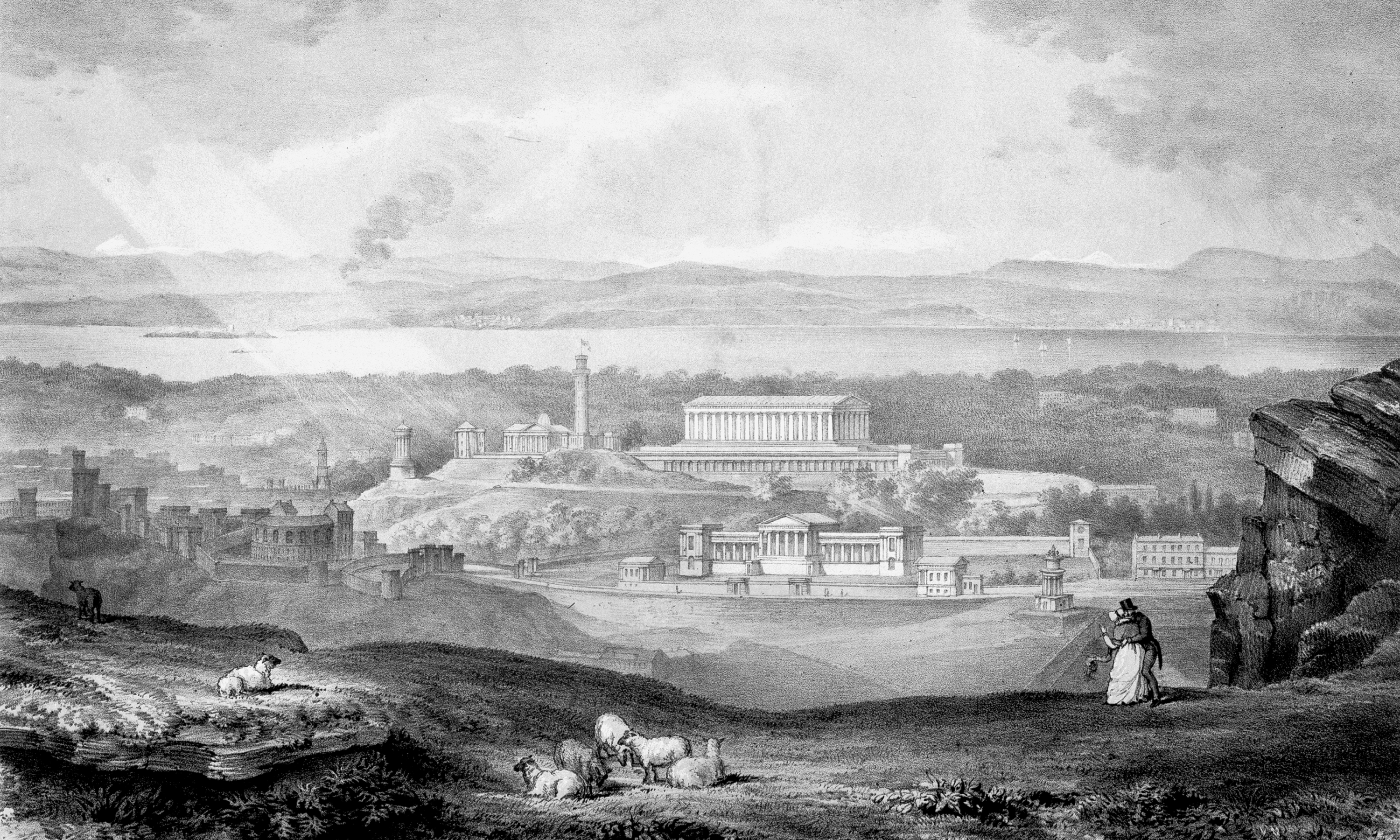 George Meikle Kemp, Speculative view showing the National Monument of Scotland (unbuilt) and Royal High School. Image: Historic Environment Scotland.