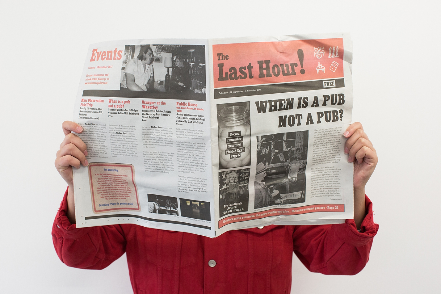 'The Last Hour! Newspaper', publication curated by Timothea Armour, 2017. Photo by Tom Nolan.
