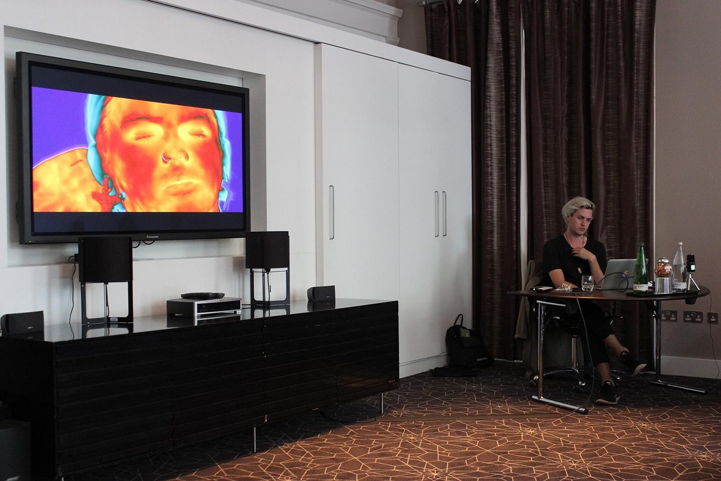 Patrick Staff's artist talk at the Apex Hotel, 2017.