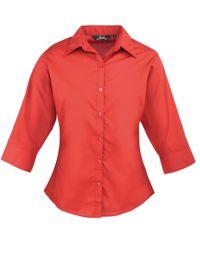 Premier PR305 Womens 3/4 Sleeve Poplin Blouse