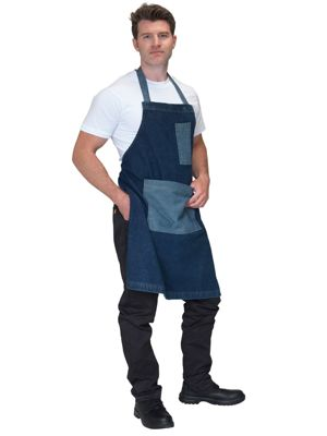 Dennys DP102 Denim Bib Apron with Contrast Pockets