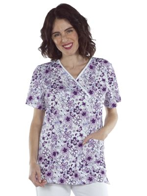 Creyconfe Nice Ladies Print Scrub Top