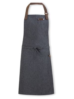 Oliver Harvey OHAPP061203DEN Black Denim Apron with Leather Detailing