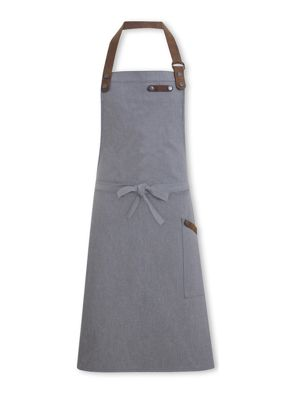 Oliver Harvey OHAPP0612GD Grey Denim Apron with Leather Detailing