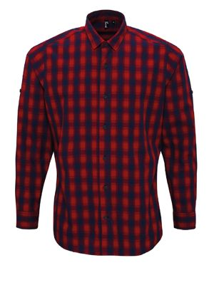 Premier PR250 Mens Mulligan Check Cotton Long Sleeve Shirt