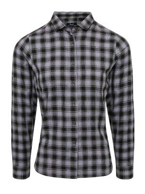 Premier PR350 Womans Mulligan Check Cotton Long Sleeve Shirt
