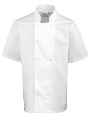 Premier PR664 Studded Short Sleeve Chefs Jacket