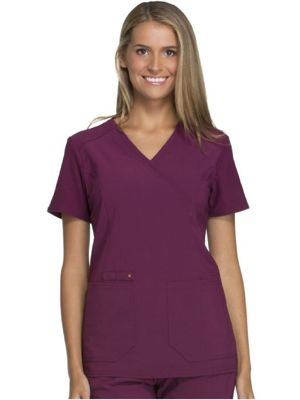 Cherokee CK619 Mock Wrap Knit Panel Top