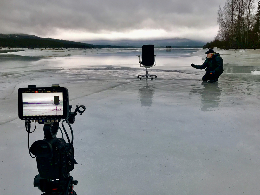 It was decided to portrait all furnitures in the Swedish nature. We thought that a task chair on wheels should like to enjoy the big openess on a frozen lake. And it did, even when the snowstorm hit it. Director Anders Envall turned it with a fishing line.
