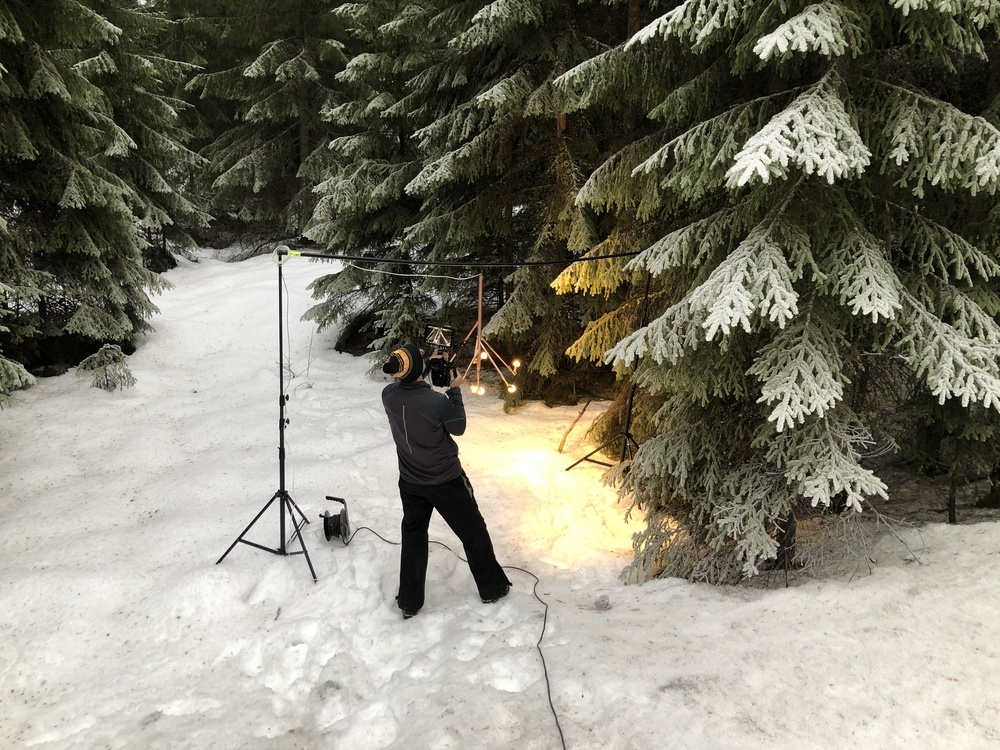 This was the temporary studio for the this light. Photographer Jan Forsberg was taking close up on Kvist. Kvist means branch so we thought it would match nicely among fir trees. And it did.