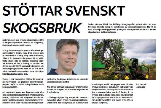 Vi stöttar Svenskt Skogsbruk