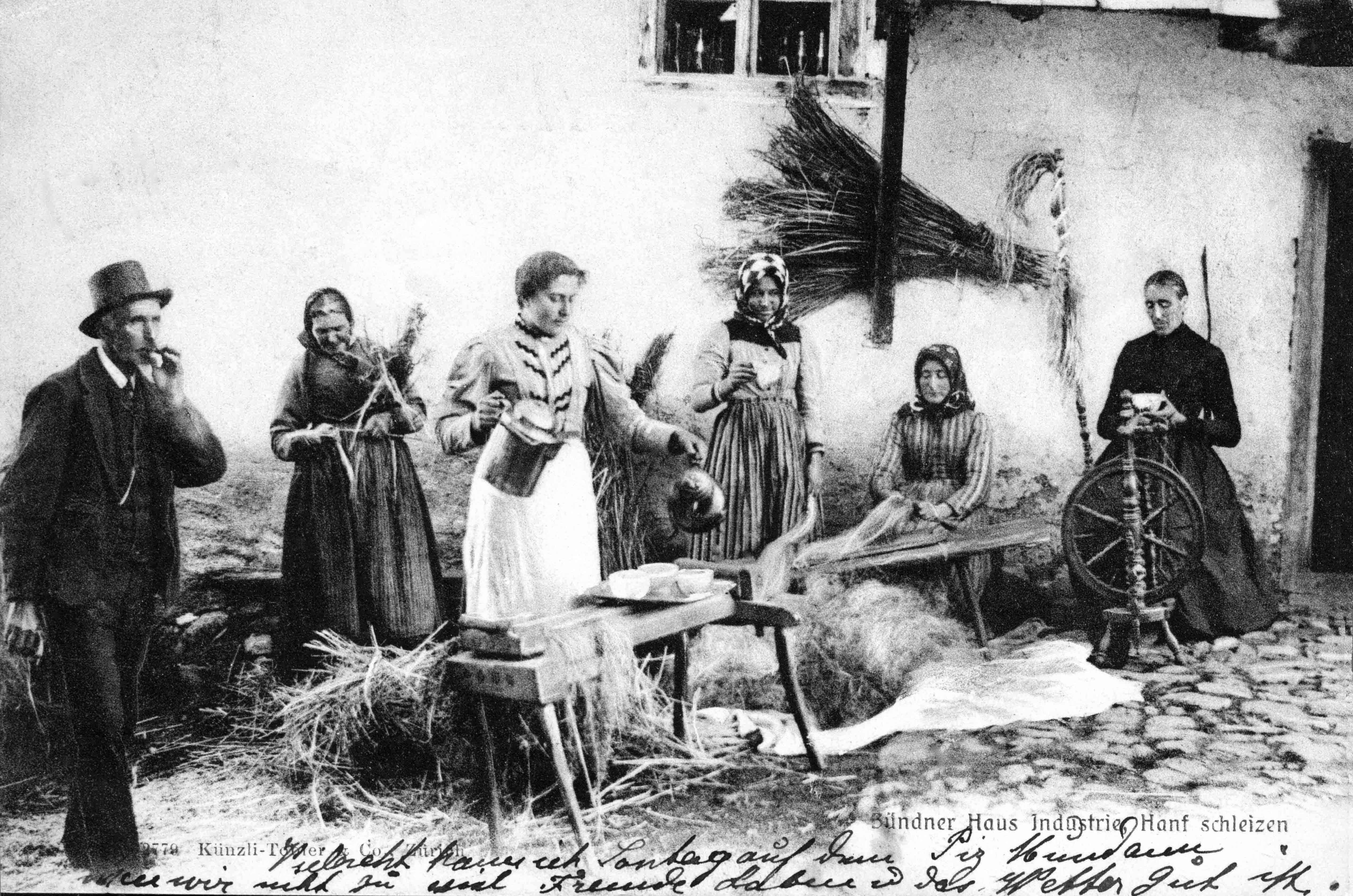 Hanfbauer in Graubünden um 1900