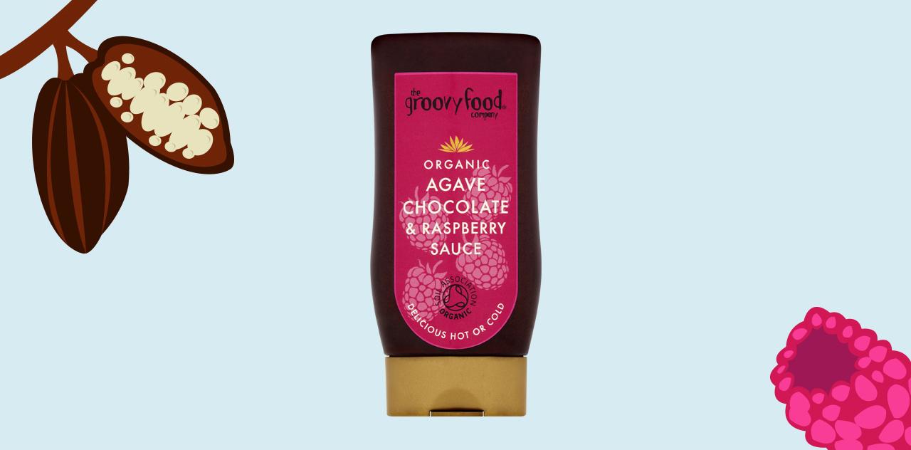 Agave chocolate and raspberry sauce
