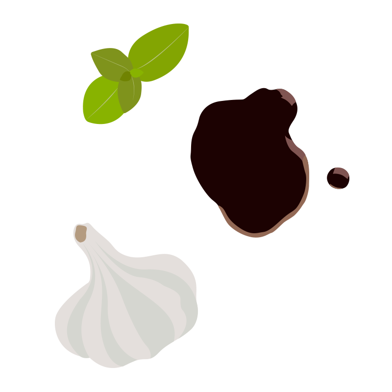 Balsamic garlic and basil illustrations