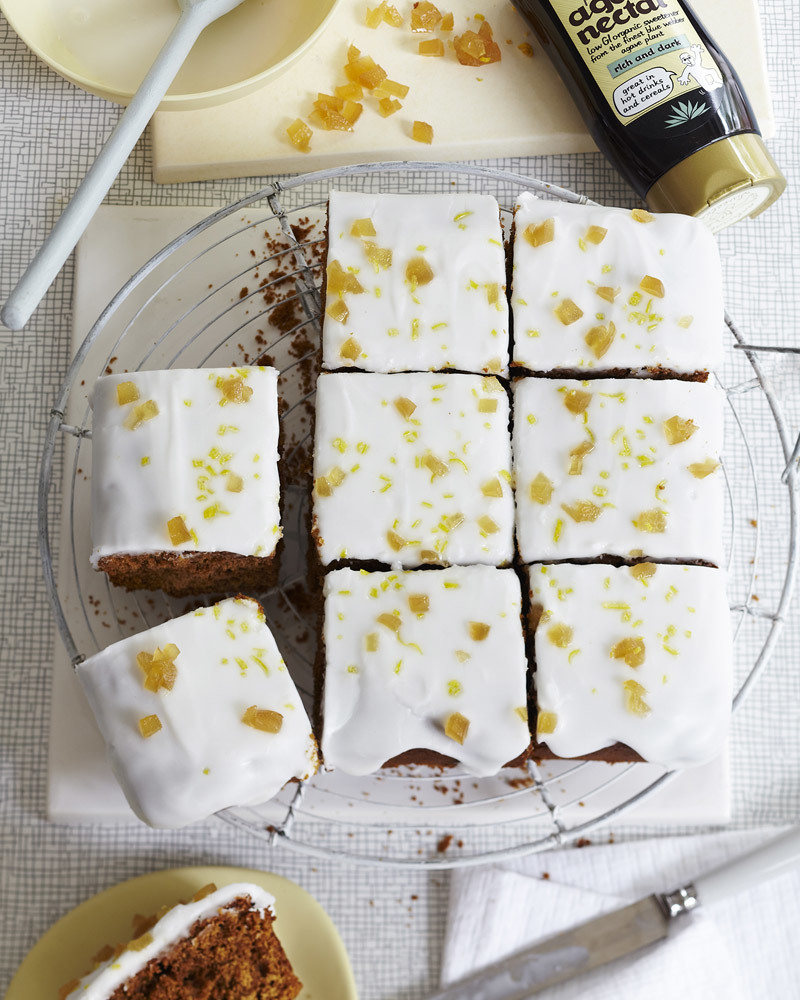 Ginger cake with lemon icing