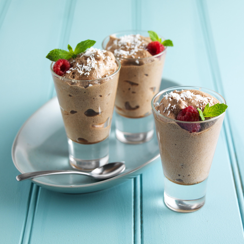 Lf coconut choc mousse with coconut top