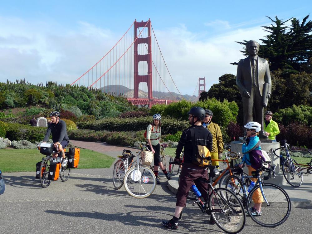 Fiets over de Golden Gate Bridge
