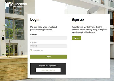 Login page for MyGuinness account