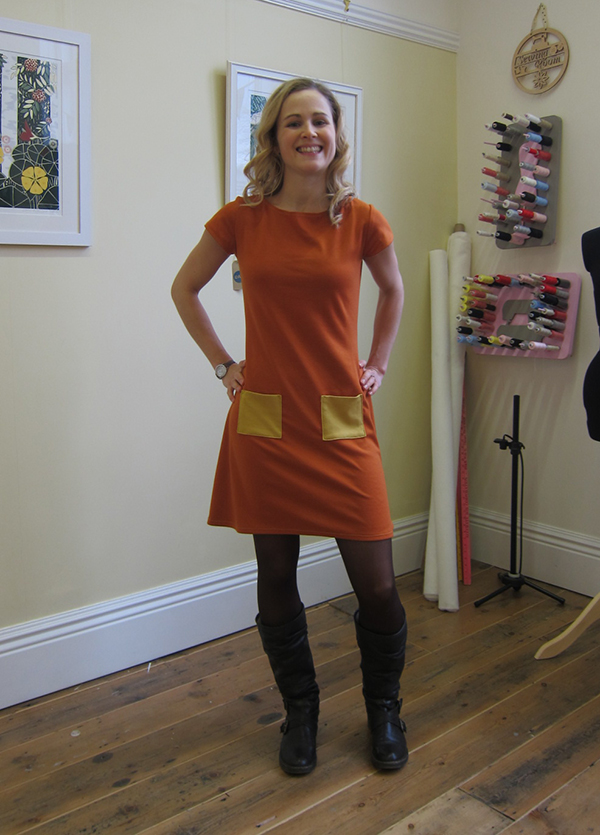Completed Coco Paprika Dress in Knitted Fabric - Guthrie & Ghani