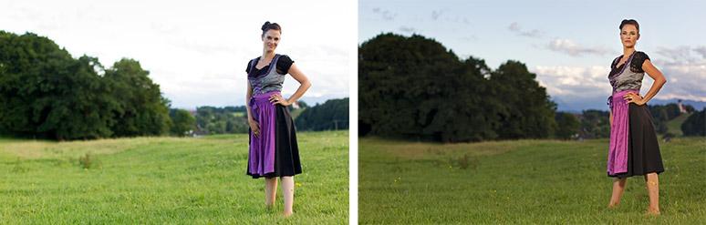 Eine Frau in der Landschaft, links ohne Blitz fotografiert, rechts mit Blitz