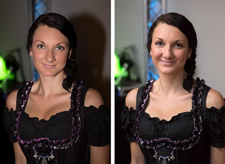 Zwei Porträts, links mit harten Schatten und rechts weich ausgeleuchtet