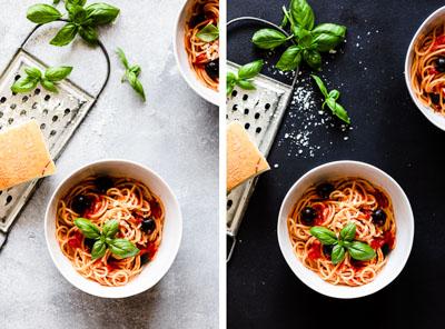 Die Wirkung eines hellen und dunklen Hintergrunds in der Foodfotografie