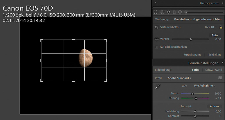 Screenshot von Einstellungen in Adobe Photoshop Lightroom