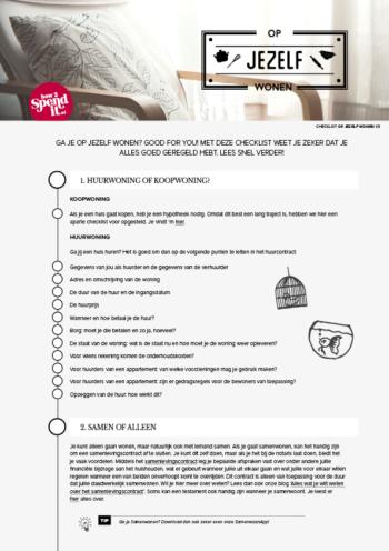 op jezelf wonen checklist