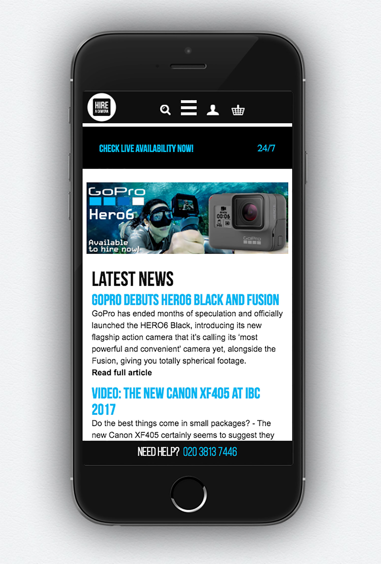 new hireacamera mobile site