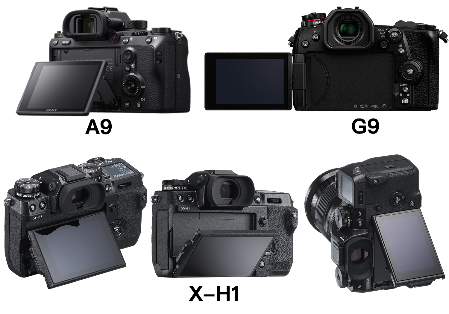 The Sony A9 vs  the Panasonic G9 vs  the Fujifilm X-H1