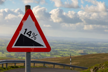 14% descent road sign UK