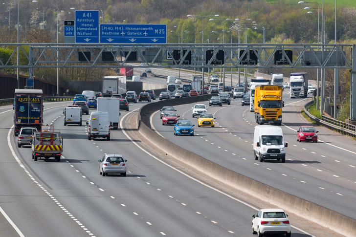 Cars driving on UK motorway