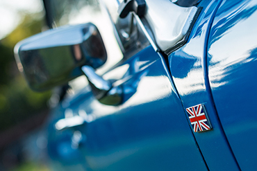 Union jack badge on Vintage car
