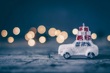 Christmas holiday concept with toy car