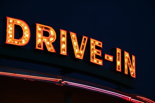 Drive-In cinema neon sign
