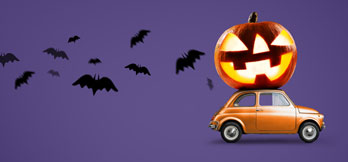 Halloween pumpkin on car purple