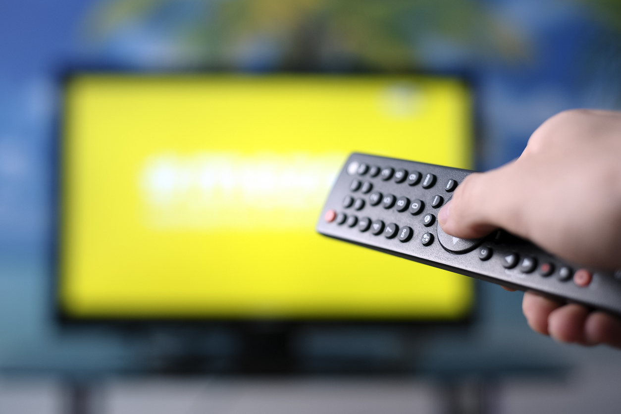 Remote control pointing at TV screen