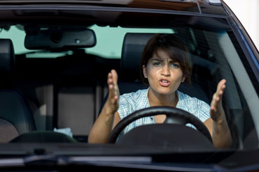 Woman angry in car
