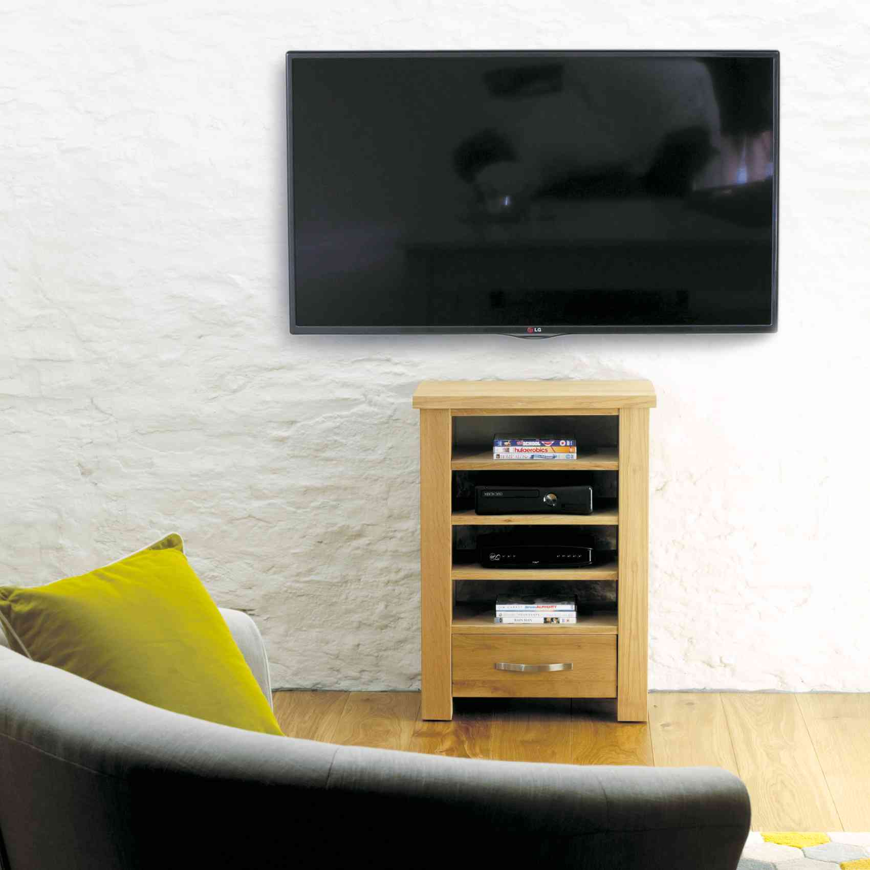 Modern Chunky Oak Home Entertainment Cabinet