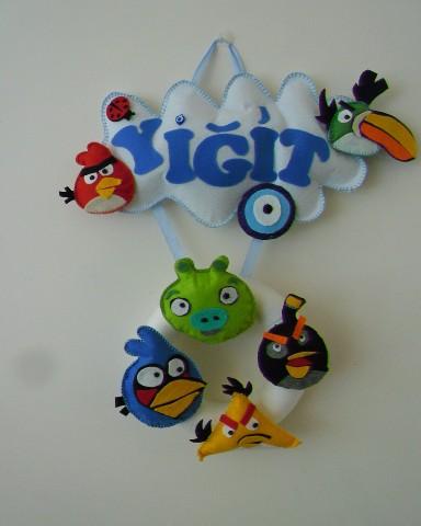 Keçeden Angry Birds Temalı İsimli Kapı Süsü