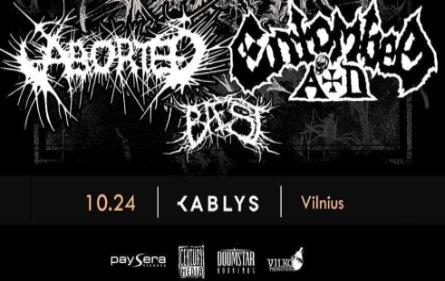 Spalį Kablyje koncertuos Aborted, Entombed A.D. bei Baest