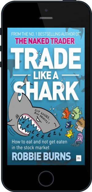 Cover of Trade Like a Shark on Mobile by Robbie Burns