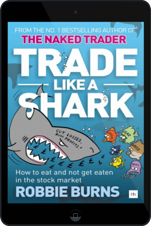 Cover of Trade Like a Shark on Tablet by Robbie Burns