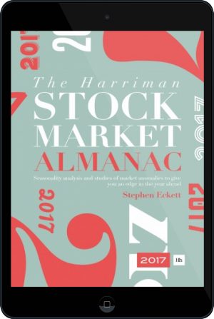 Cover of The Harriman Stock Market Almanac 2017 on Tablet by Stephen Eckett